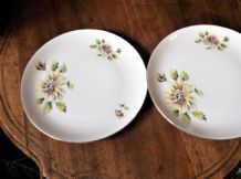 4 X VINTAGE RETRO GILDED SIDE PLATES BOHEMIA CZECH DAISY YELLOW 7""
